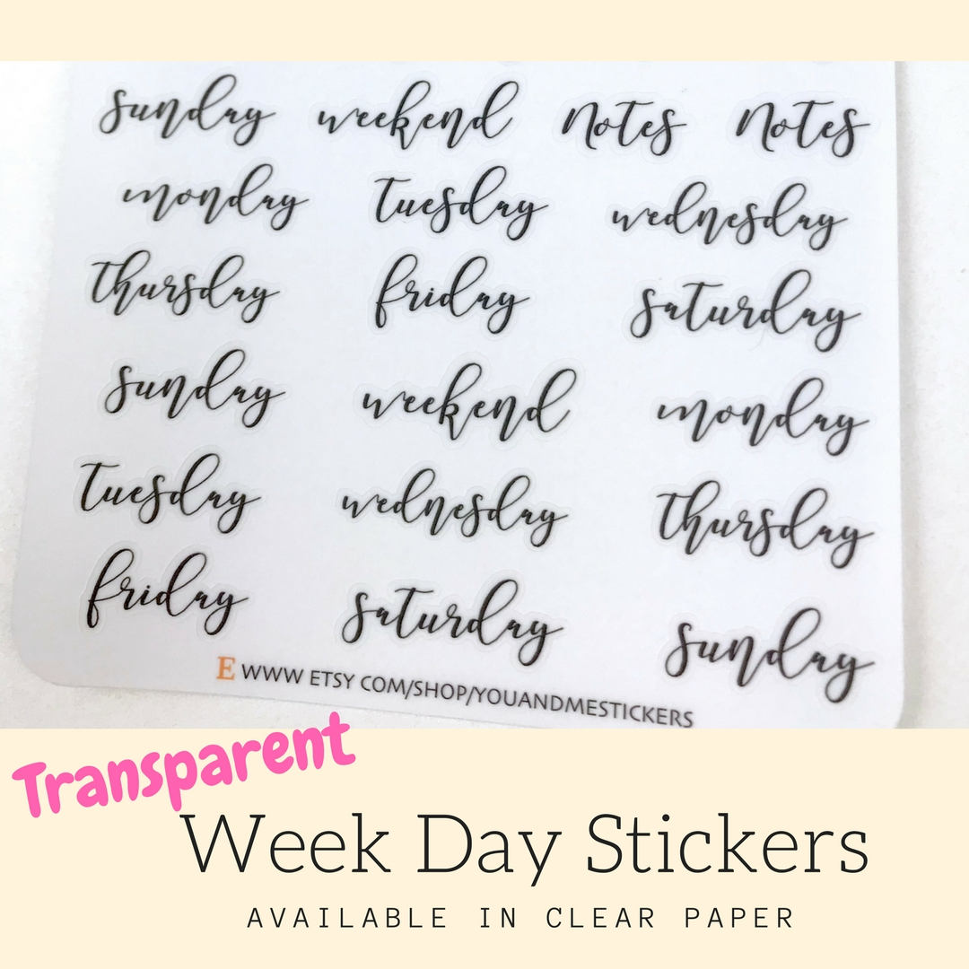 Transparent Sticker | Week Day Sticker | Planner Stickers | Erin Condren | Happy Planner | HS35