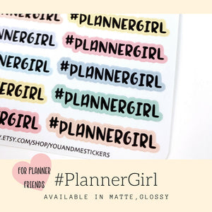 Planner Stickers | Planner Girl Sticker | Script Sticker | Hashtag Sticker | ECLP |Erin Condren | Happy Planner | Bullet Journal | HS39
