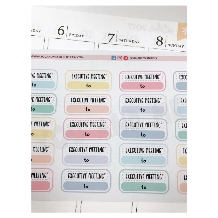 Meeting Stickers | Planner Sticker | Erin Condren | FBS85