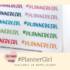 Planner Stickers | Planner Girl Sticker | Script Sticker | Hashtag Sticker | ECLP | Erin Condren | Happy Planner | Bullet Journal | HS38