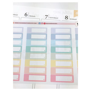 Quarter Box | Label Stickers |  Planner stickers | Pastel Stickers | Appointment Labels | Erin Condren Planner | Happy Planner | BS15