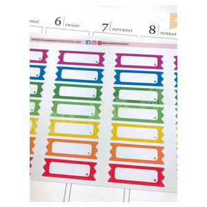 Quarter Box | Label Stickers |  Planner stickers | Appointment Sticker | Rainbow Stickers | Erin Condren | ECLP | Happy Planner | BS64