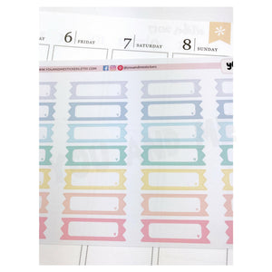 Quarter Box | Label Stickers |  Planner stickers | Rainbow Stickers | Vertical | Erin Condren | Happy Planner | BS65