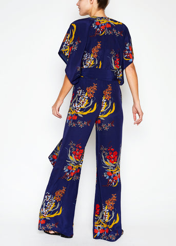 Natasha Pink and Blue Feathers Jumpsuit