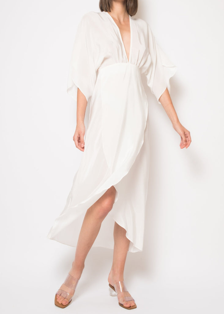 Kelly White Silk Open Back Midi Dress