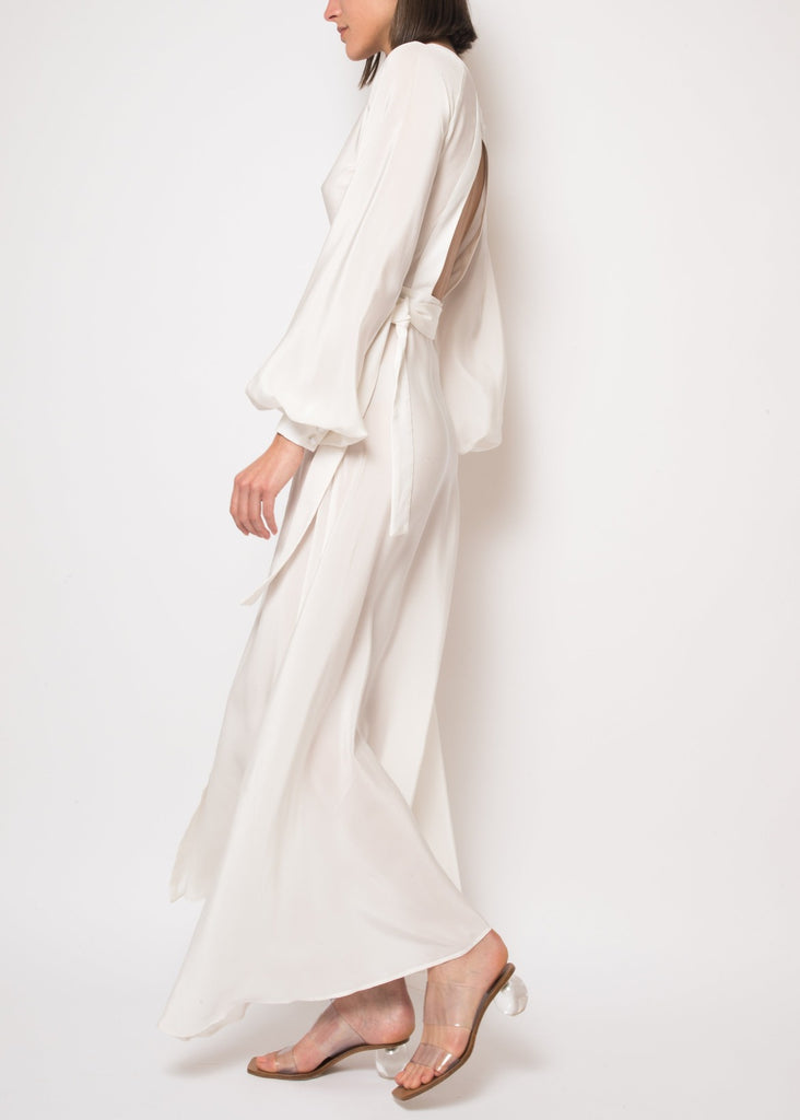 Ursula open back white wrap dress