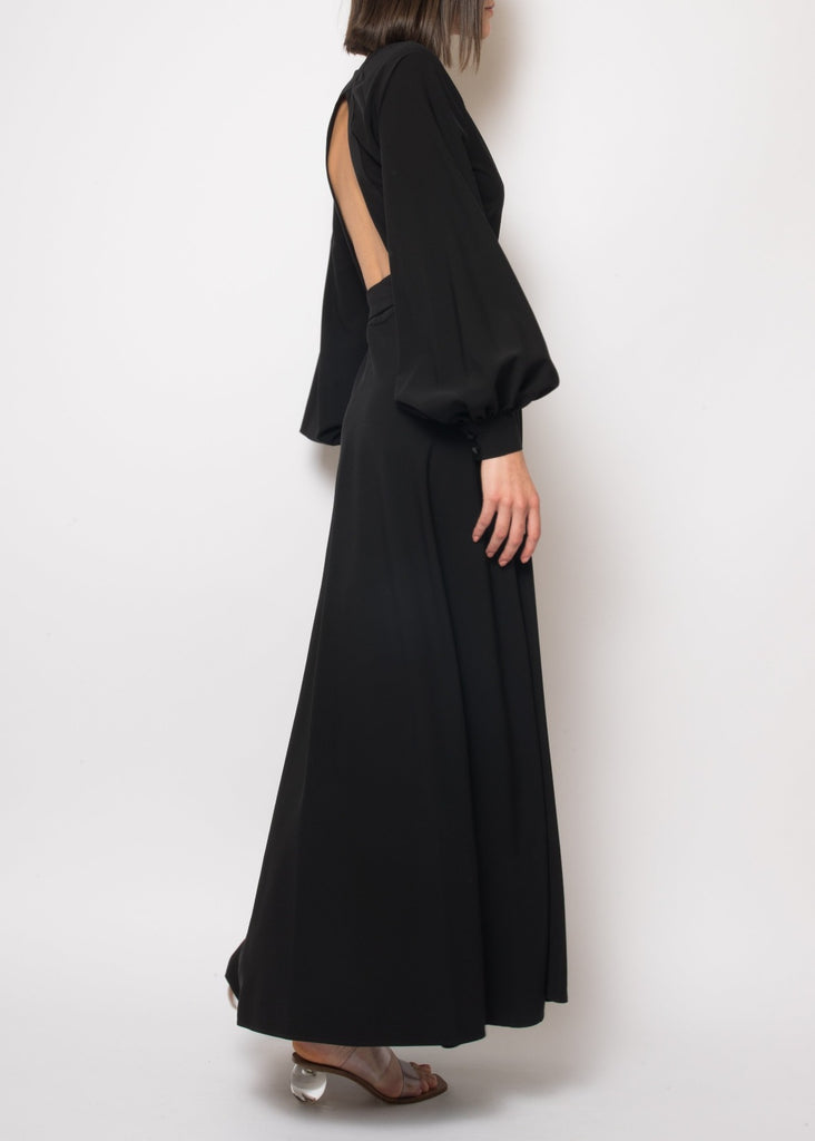 Ursula backless Black wrap dress