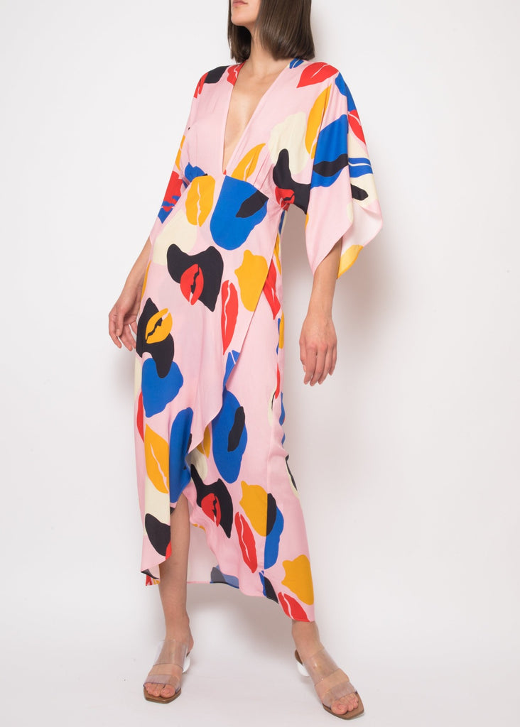 Katherine Dress in Pink Spring Abstract
