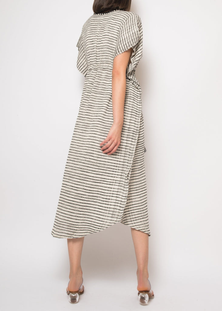 Camila Caftan in Black and Ecru Stripes