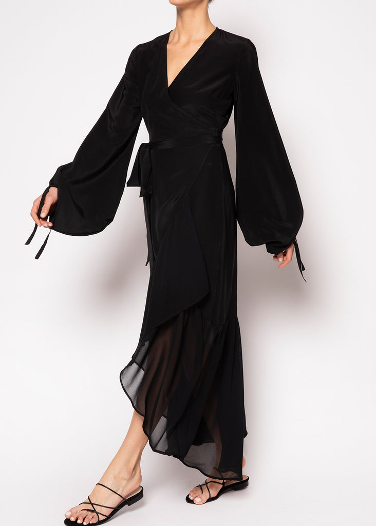 Anastasia Black Wrap Dress