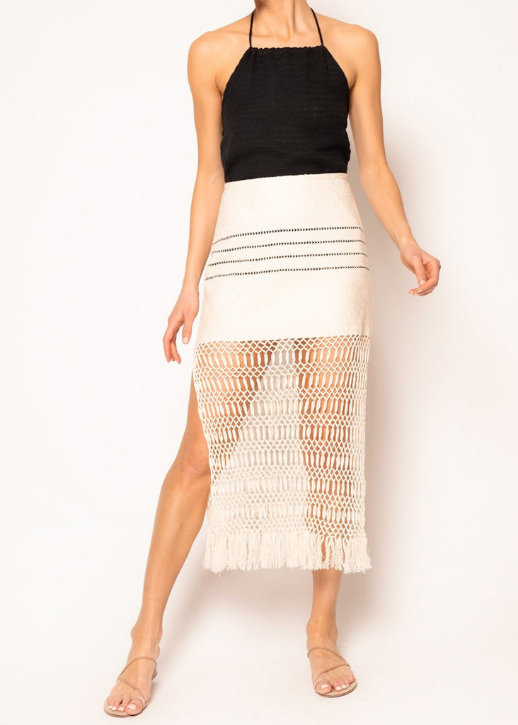 Jane Ecru Macrame Skirt