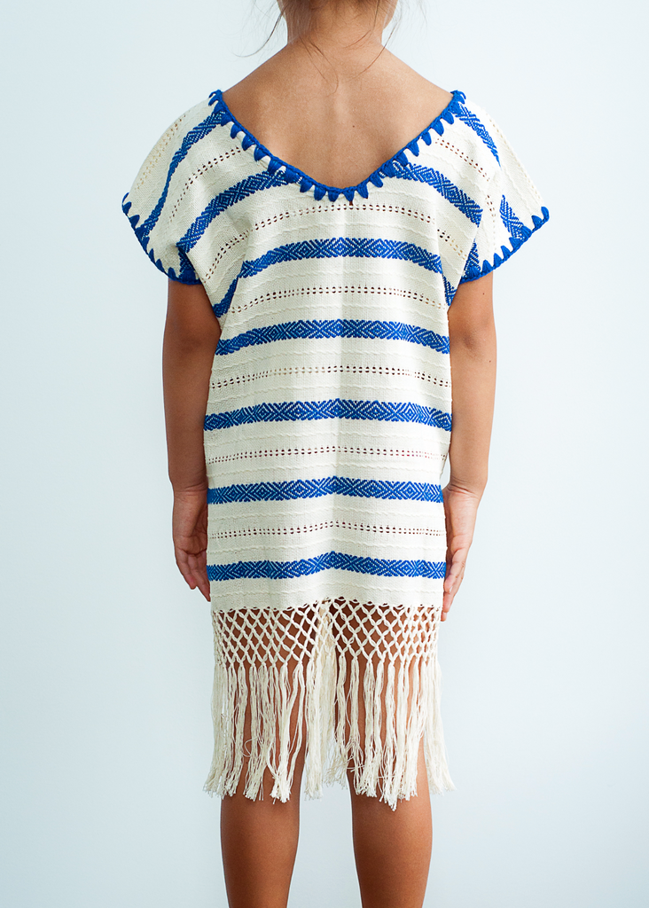 Mini Lidia Dress in Ecru Navy Stripe