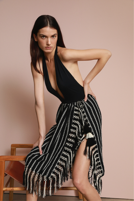 Nieves Pareo Black & Ecru Stripe