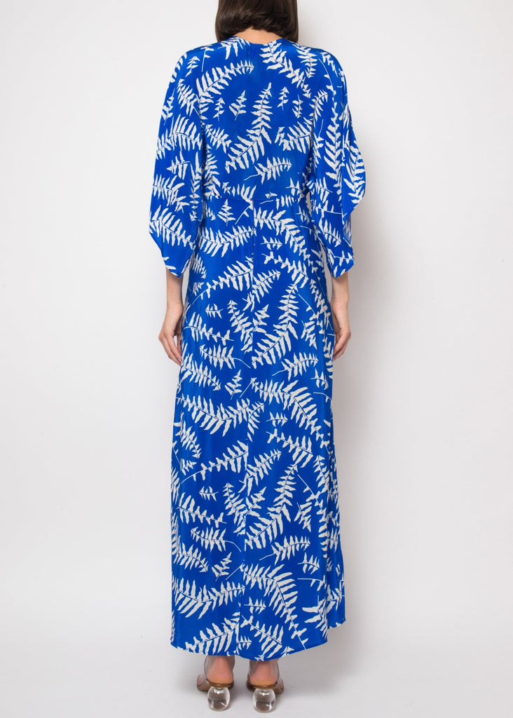 Katherine Dress in Blue Foliage
