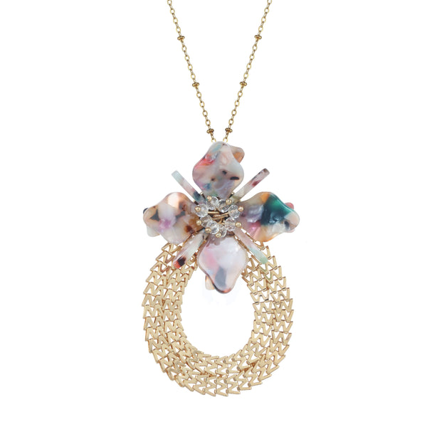 "Chic Jewels Acrylic ""Floral Fantasy"" Necklace Bohemian Oval Wood Flower Pendant 20"" with 2"" Extender Main Image"