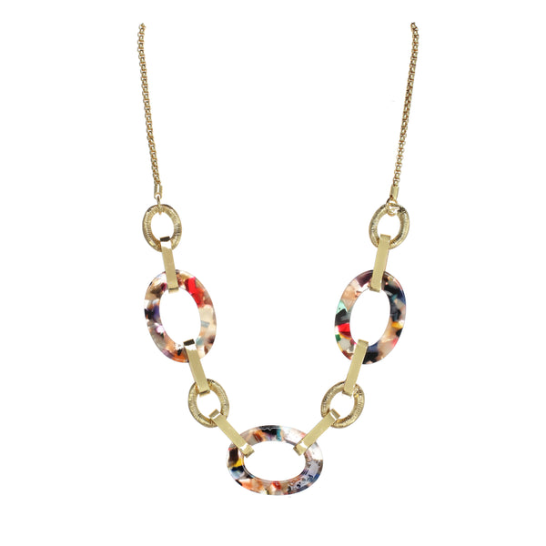 "Chic Jewels Acrylic ""Triple Threat"" Necklace Bohemian Multi-Color Oval Rings 20"" with 1.75"" Extender Main Image"