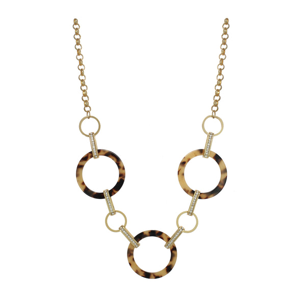 "Chic Jewels Acrylic ""Three Peat"" Necklace Three Bohemian Leopard Pattern Rings 18"" with 2.5"" Extender Main Image"