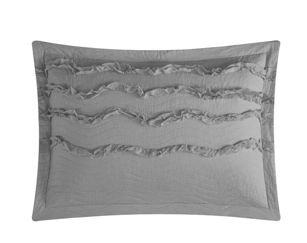 Chic Home Meghan 1 Piece Pillow Sham 100% Cotton Wave Pattern Ruffled with Flanged Border Grey