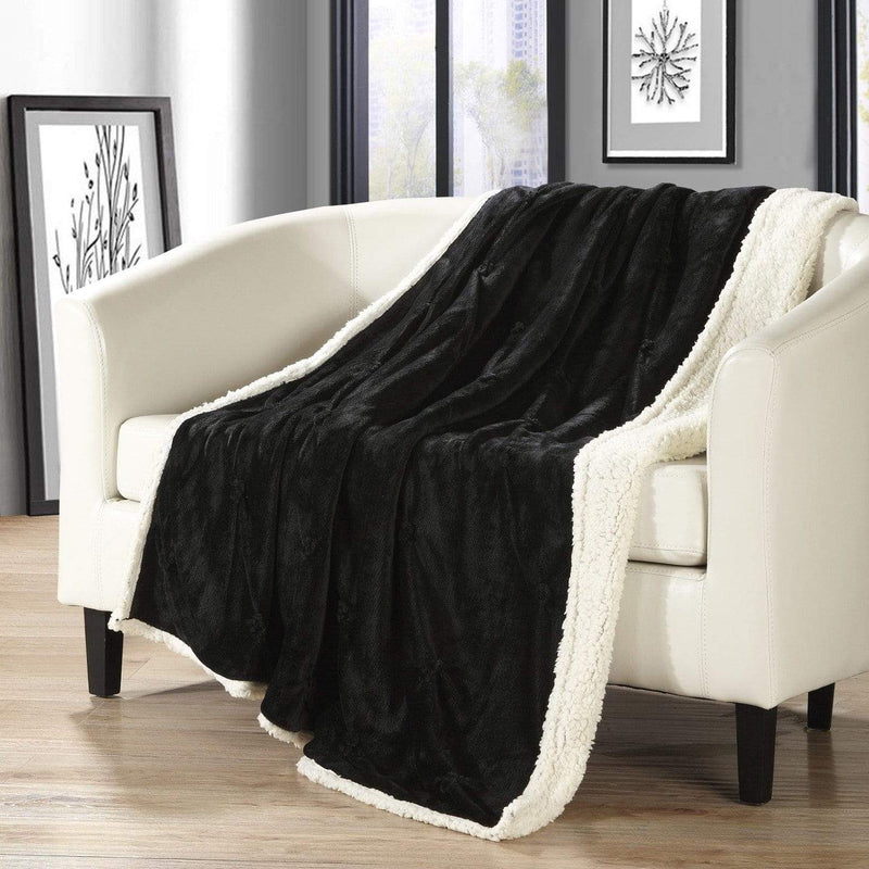 Chic Home Alba Ultra Plush Shaggy Faux Fur Micromink Pinch Pleat Throw Blanket Black-Black-TB4893-CHB