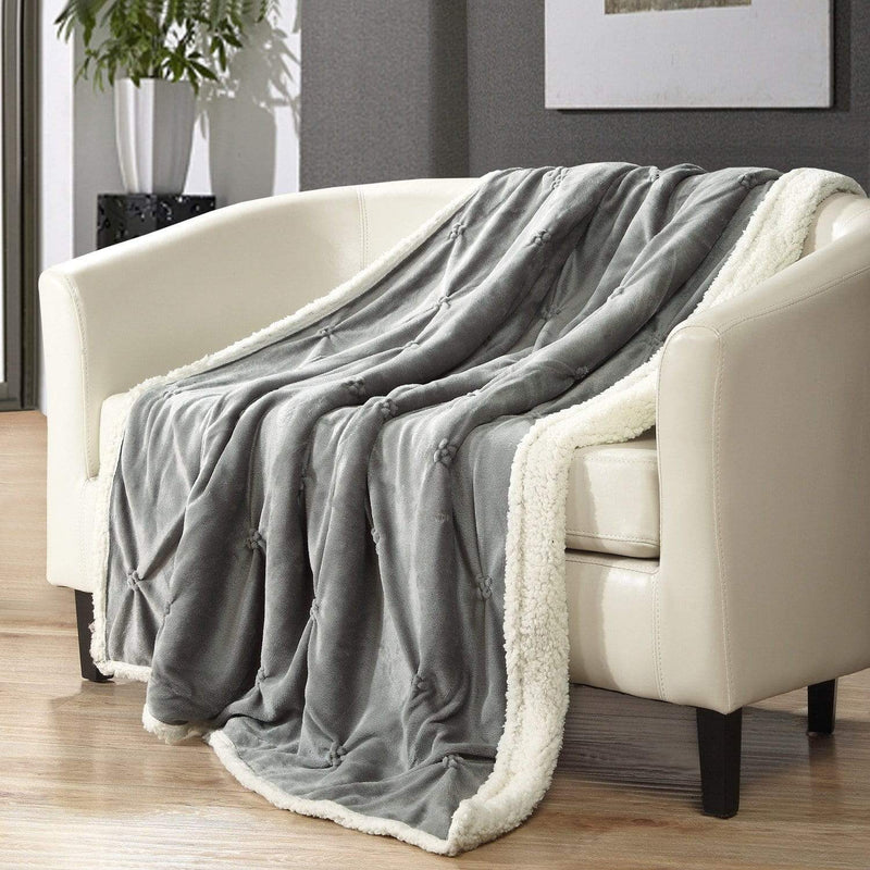Chic Home Alba Ultra Plush Shaggy Faux Fur Micromink Pinch Pleat Throw Blanket Grey-Grey-TB4892-CHB