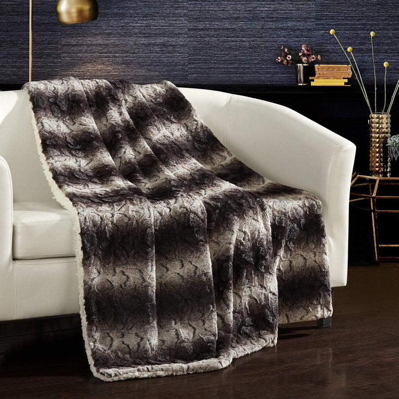 Chic Home Aleah Throw Blanket Cozy Super Soft Plush Decorative Two Tone Faux Fur Sherpa Lined Brown-BTB23926-CHB