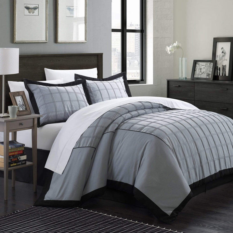 Chic Home Angelina 3 Piece Duvet Cover Set Pintuck Patchwork Color Block Design Bedding-