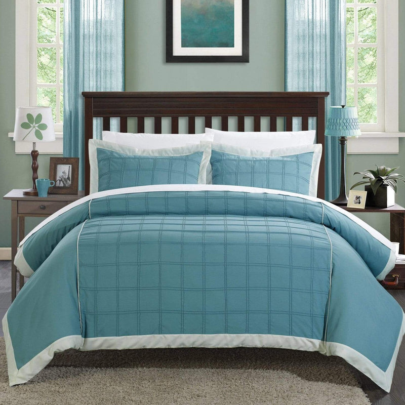 Chic Home Angelina 3 Piece Duvet Cover Set Pintuck Patchwork Color Block Design Bedding-Aqua