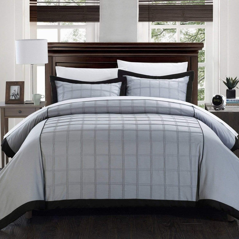 Chic Home Angelina 3 Piece Duvet Cover Set Pintuck Patchwork Color Block Design Bedding-Black