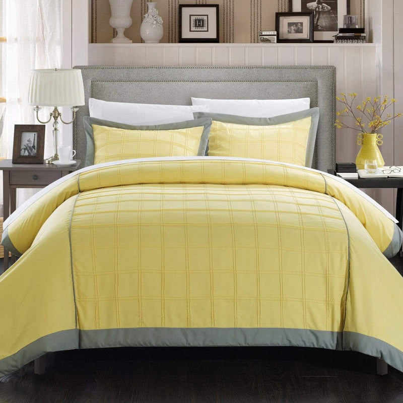 Chic Home Angelina 3 Piece Duvet Cover Set Pintuck Patchwork Color Block Design Bedding-Yellow