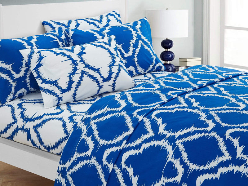 Chic Home Arianna 6 Piece Sheet Set with Pillowcases Ikat Medallion Pattern Print Blue-SS3239-CHB