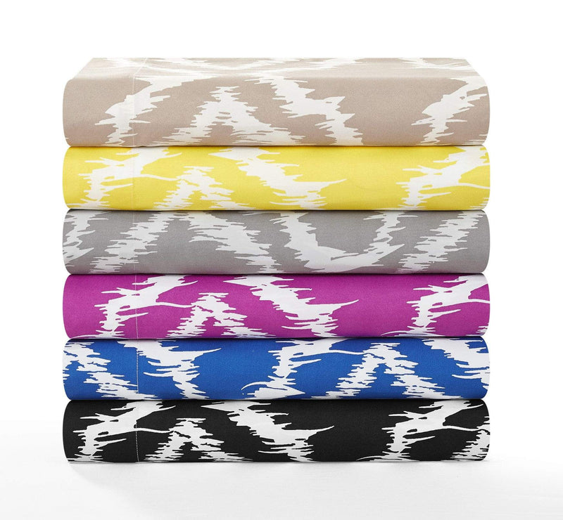 Chic Home Arianna 6 Piece Sheet Set with Pillowcases Ikat Medallion Pattern Print Yellow-