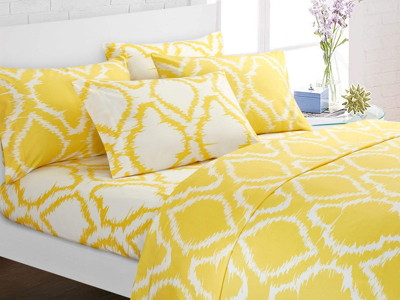 Chic Home Arianna 6 Piece Sheet Set with Pillowcases Ikat Medallion Pattern Print Yellow-SS3238-CHB