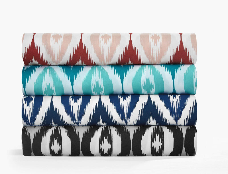 Chic Home Arundel 6 Piece Sheet Set with Pillowcases Two-Tone Ikat Diamond Pattern Print Aqua-