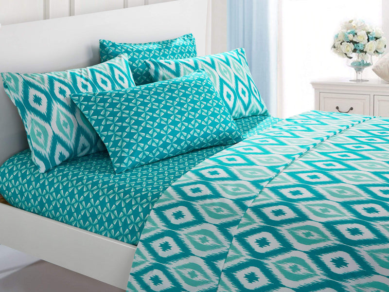 Chic Home Arundel 6 Piece Sheet Set with Pillowcases Two-Tone Ikat Diamond Pattern Print Aqua-SS5008-CHB