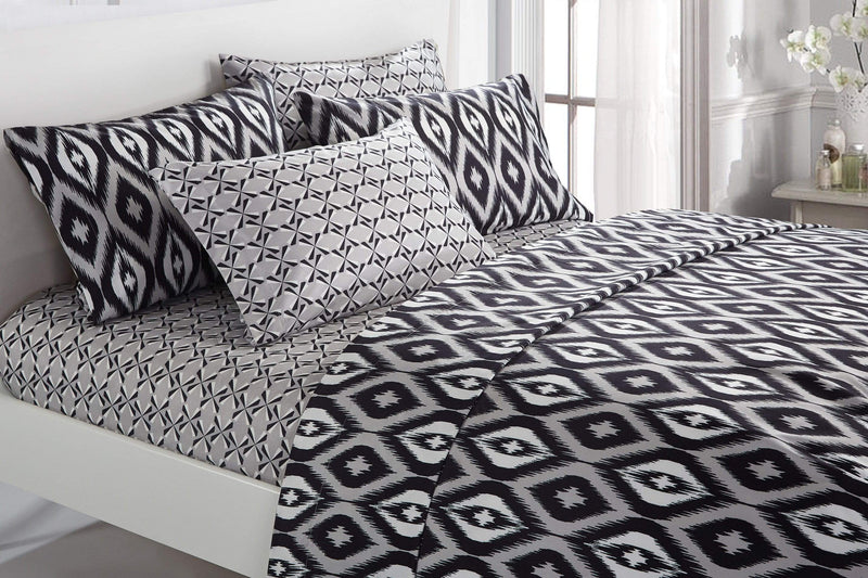 Chic Home Arundel 6 Piece Sheet Set with Pillowcases Two-Tone Ikat Diamond Pattern Print Black-SS5007-CHB