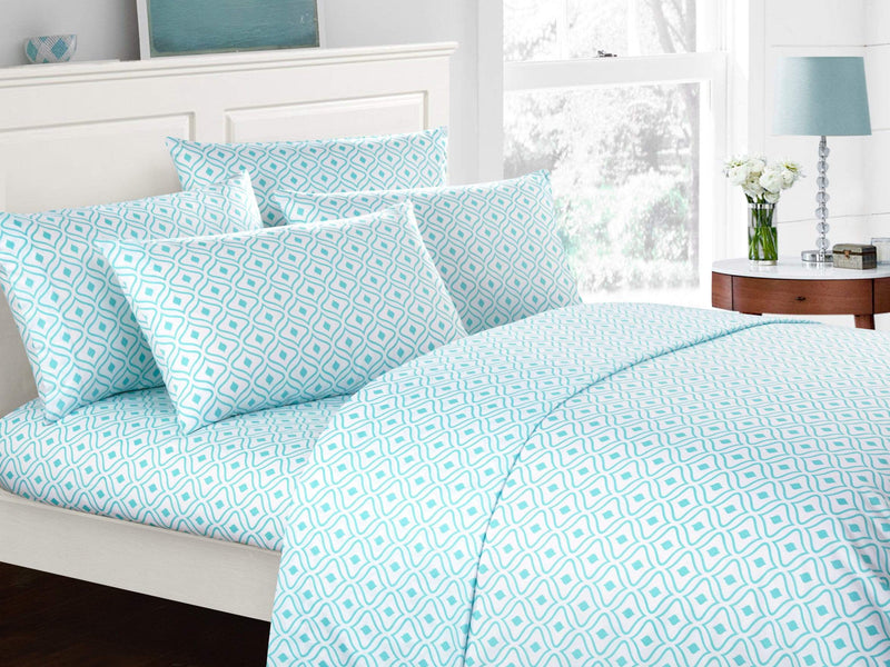 Chic Home Ayala 6 Piece Sheet Set with Pillowcases Two-Tone Geometric Diamond Pattern Print Blue-BSS11954-CHB