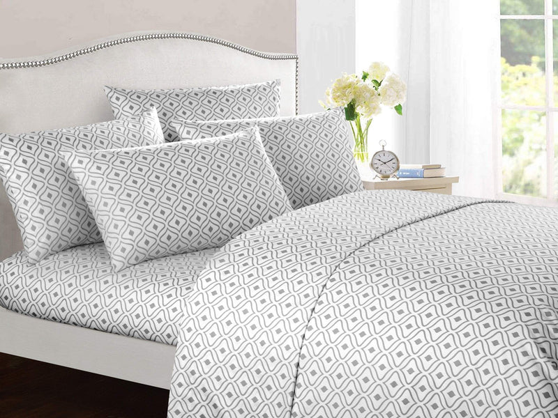 Chic Home Ayala 6 Piece Sheet Set with Pillowcases Two-Tone Geometric Diamond Pattern Print Grey-BSS11916-CHB