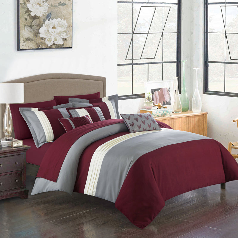 Chic Home Ayelet 10 Piece Color Block Comforter Set Ruffled Bed in a Bag-