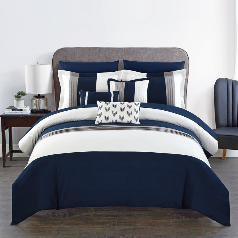 Chic Home Ayelet 10 Piece Color Block Comforter Set Ruffled Bed in a Bag-Navy