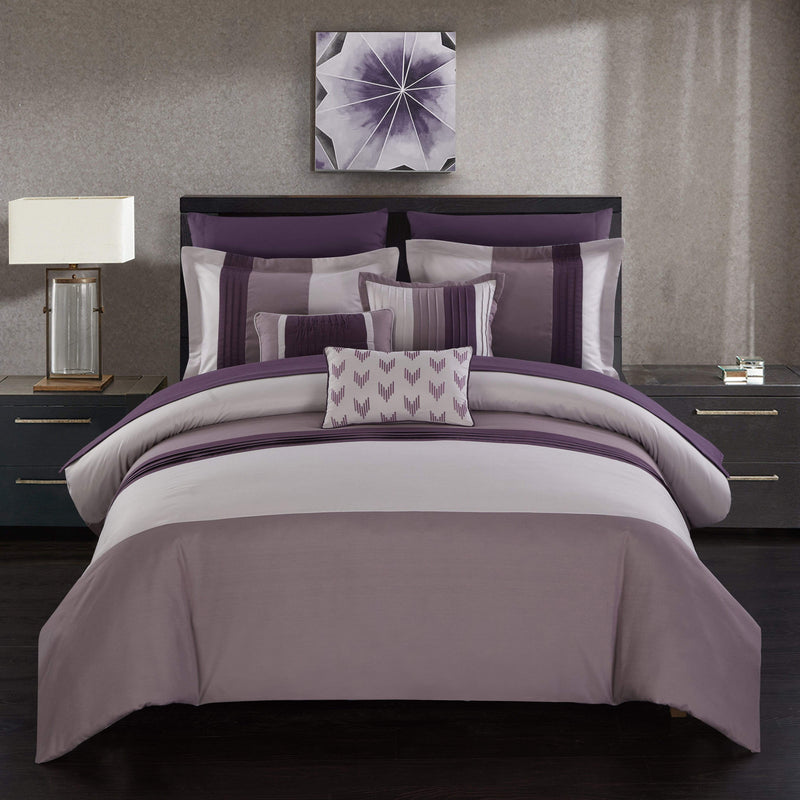 Chic Home Ayelet 10 Piece Color Block Comforter Set Ruffled Bed in a Bag-Plum