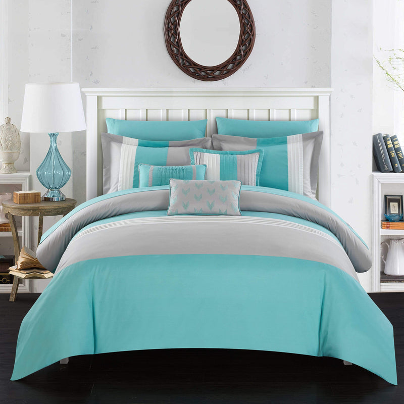 Chic Home Ayelet 10 Piece Color Block Comforter Set Ruffled Bed in a Bag-Turquoise