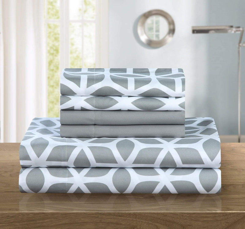 Chic Home Bailee 6 Piece Sheet Set with Pillowcases Geometric Pattern Print Grey-SS4700-CHB