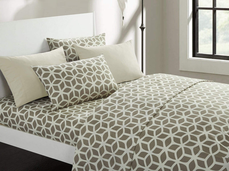 Chic Home Bailee 6 Piece Sheet Set with Pillowcases Geometric Pattern Print Taupe-SS0452-CHB