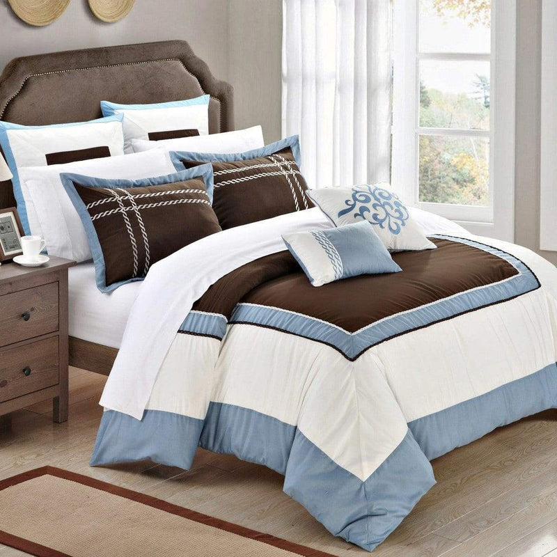 Chic Home Ballroom 11 Piece Hotel Collection Comforter Set Color Block Bed in a Bag-Blue