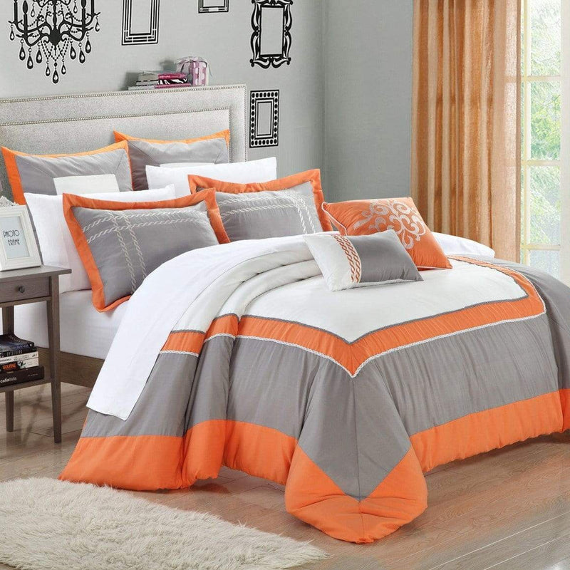 Chic Home Ballroom 11 Piece Hotel Collection Comforter Set Color Block Bed in a Bag-Orange