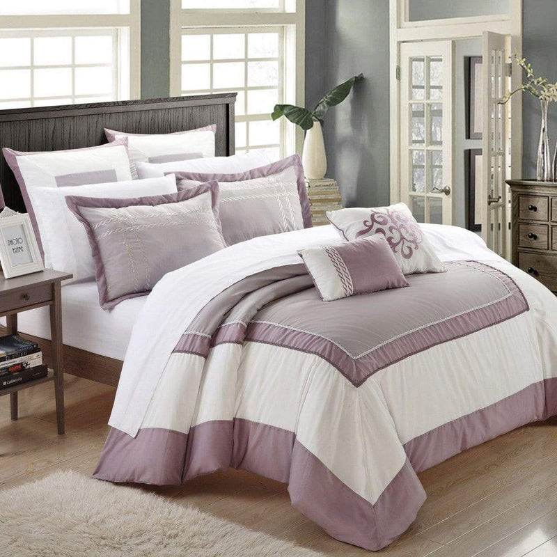 Chic Home Ballroom 11 Piece Hotel Collection Comforter Set Color Block Bed in a Bag-Plum