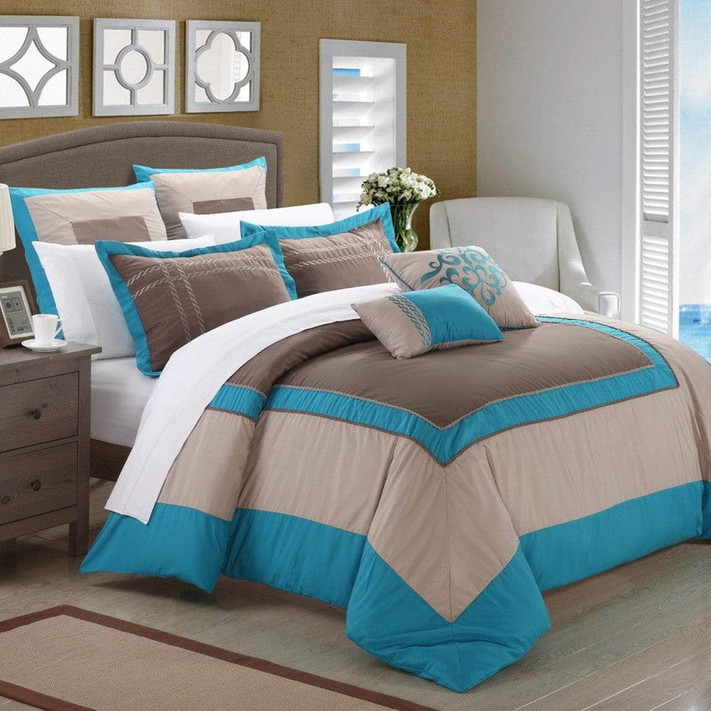 Chic Home Ballroom 11 Piece Hotel Collection Comforter Set Color Block Bed in a Bag-Teal