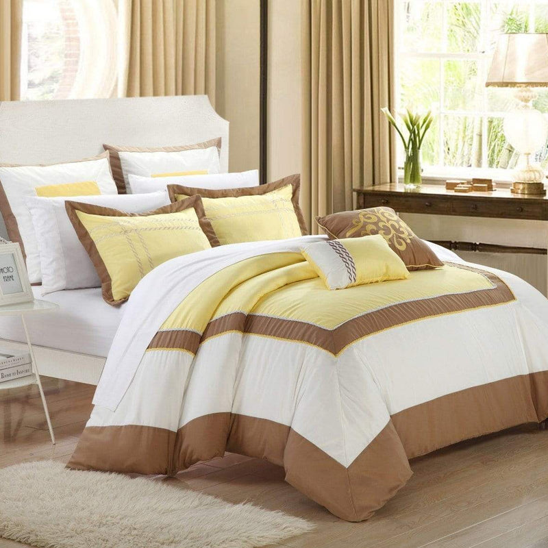 Chic Home Ballroom 11 Piece Hotel Collection Comforter Set Color Block Bed in a Bag-Yellow