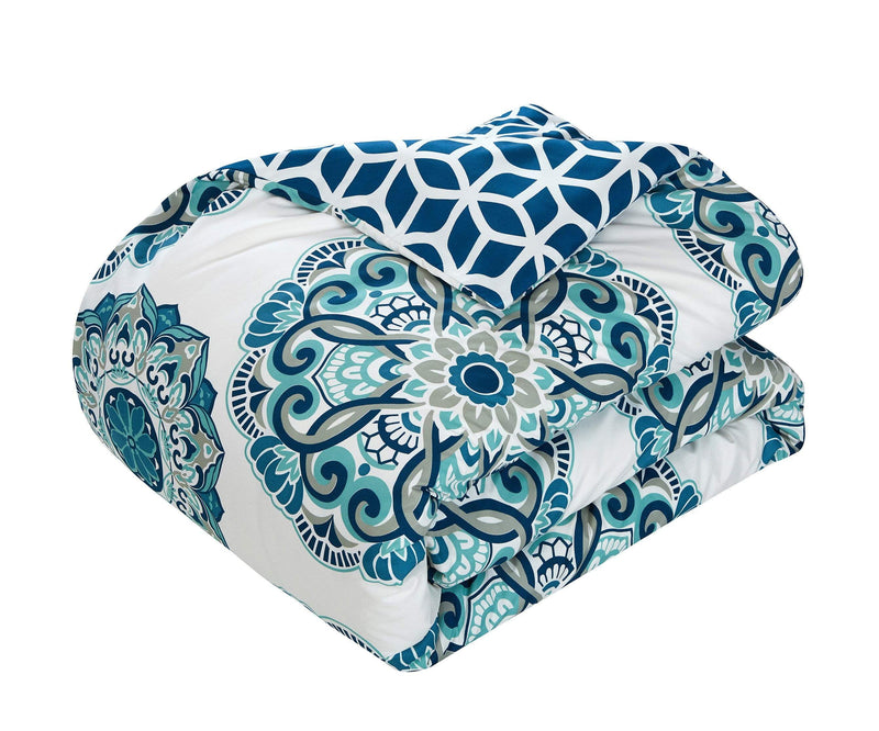 Chic Home Barcelona 8 Piece Reversible Paisley Comforter Set Boho Medallion Geometric Bed in a Bag-