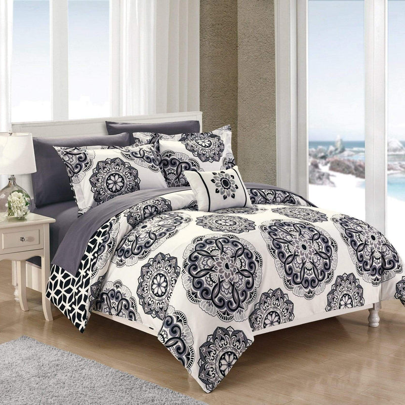 Chic Home Barcelona 8 Piece Reversible Paisley Comforter Set Boho Medallion Geometric Bed in a Bag-Black